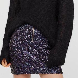 NWOT Free People black/purple sequin zip up skirt